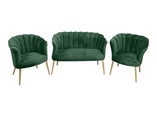Set canapea cu 2 fotolii, tip scoică, verde - model DE LUXE