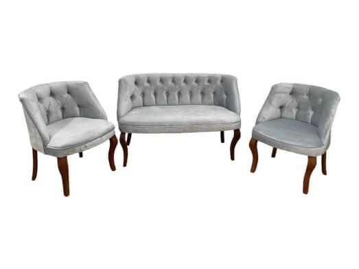 Set canapea 2 locuri și 2 fotolii gri - model HAWAY