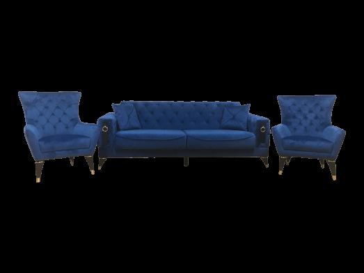 Set canapea 3 locuri cu 2 fotolii, albastru- model LIZBON