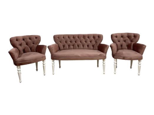 Set canapea și fotolii roz pudră - model RENSA