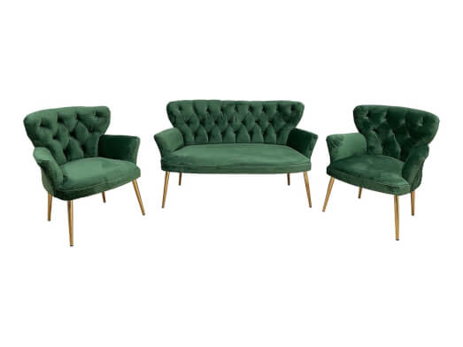 Set canapea și fotolii, culoare verde - model RENSA