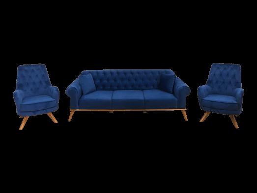Set canapea 3 locuri cu 2 fotolii, albastru - model SOLO