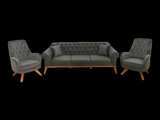 Set canapea 3 locuri cu 2 fotolii, gri - model SOLO