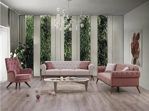 Set canapea 3 locuri cu 2 fotolii, roz - model SOLO