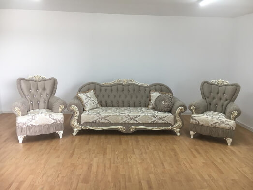Set canapea cu 2 fotolii cappuccino - model CAMLICA