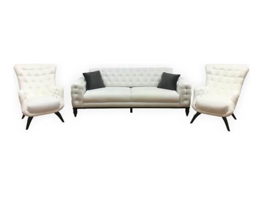 Set canapea 3 locuri cu 2 fotolii, alb - model JASMINE