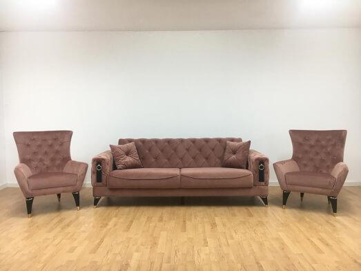 Set canapea 3 locuri cu 2 fotolii, roz pudră - model LIZBON