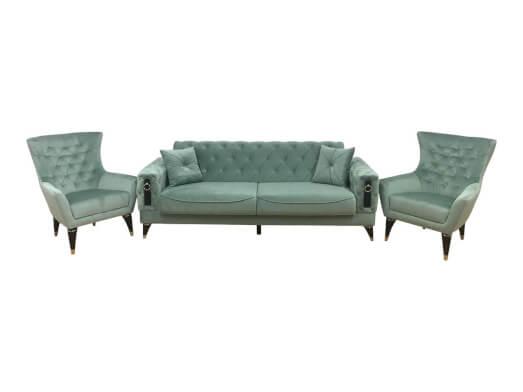 Set canapea 3 locuri cu 2 fotolii, verde pastel - model LIZBON