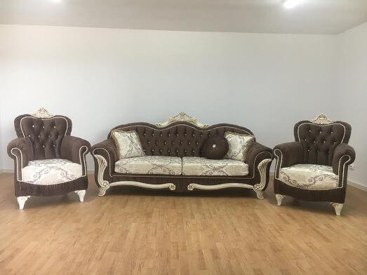 Set canapea fixă cu 2 fotolii maro - model USKUDAR