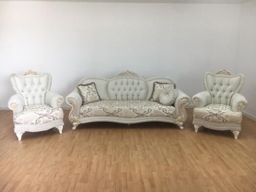 Set canapea fixă cu 2 fotolii crem - model SEHEREZAT