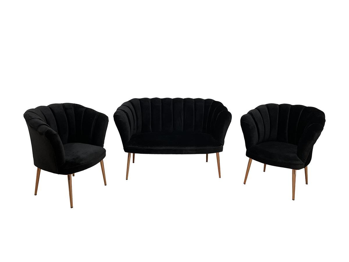 Set canapea cu 2 fotolii, tip scoică, negru - model DE LUXE