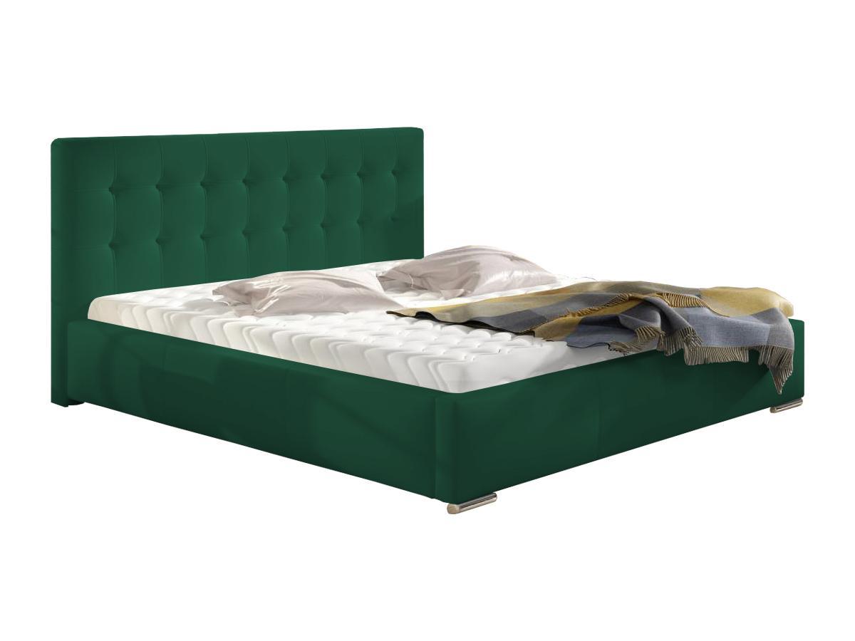 Pat tapițat verde, cu ladă pentru depozitare - model ALISA