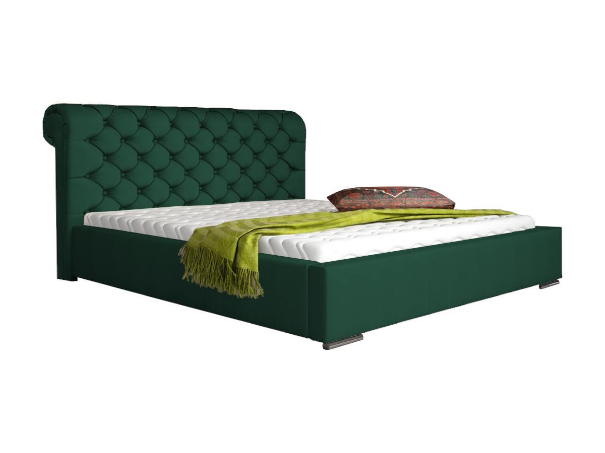 Pat tapițat clasic catifea verde cu somieră metalică rabatabilă - model KAROLY