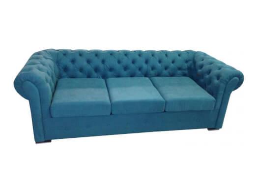 Canapea extensibilă 3 locuri, albastru - model CHESTERFIELD