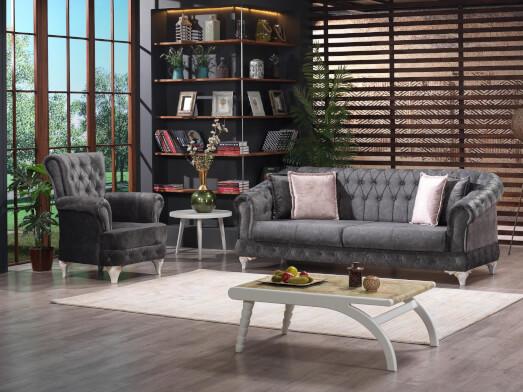 Canapea extensibilă 3 locuri, gri inchis - model DATCA