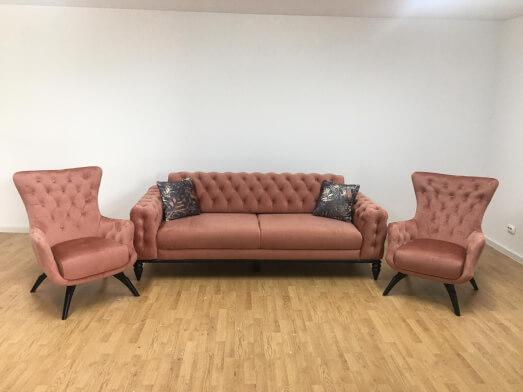 Set canapea 3 locuri cu 2 fotolii, roze pudră - model JASMINE