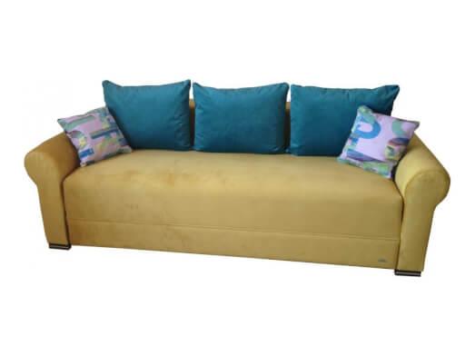 Canapea extensibilă 3 locuri, galbenă - model PARIS