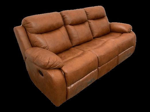 Canapea cu 3 locuri, 2 reclinere manuale, structură lemn masiv, pluș maro, 205 x 100 x 97 cm