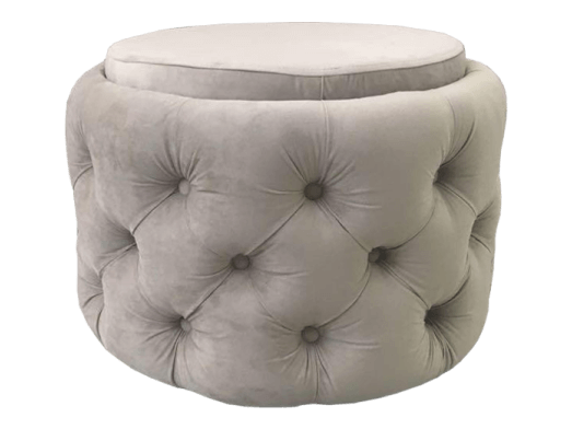 Taburet rotund gri - model CHESTERFIELD
