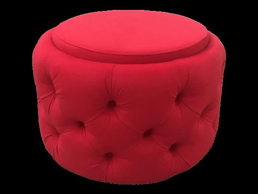 Taburet cu tapițerie din material plușat roșu - model CHESTERFIELD